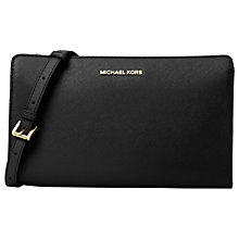 Buy MICHAEL Michael Kors Jet Set Travel Saffiano Leather Smartphone Across Body Bag, Black Online at johnlewis.com