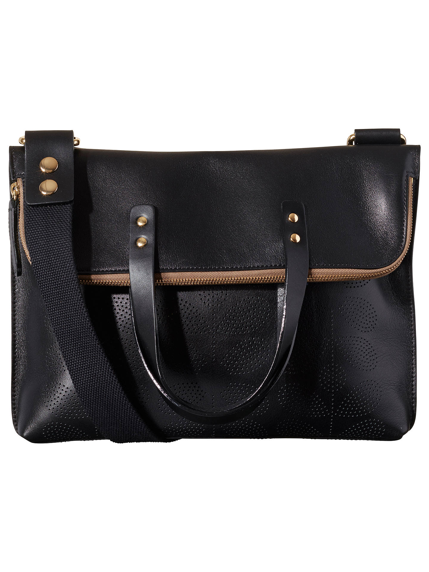 Orla Kiely Sixties Stem Punched Leather Juniper Bag Black Online At Johnlewis