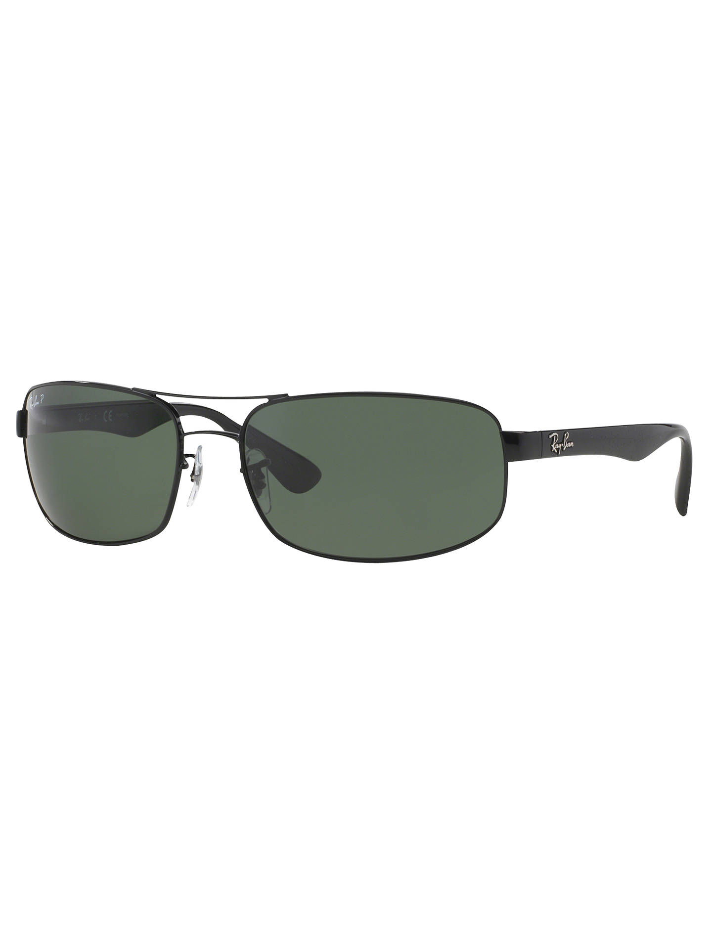 BuyRay-Ban RB3445 Polarised Rectangular Sunglasses, Black Dark Green Online  at johnlewis. 83c5a9f402
