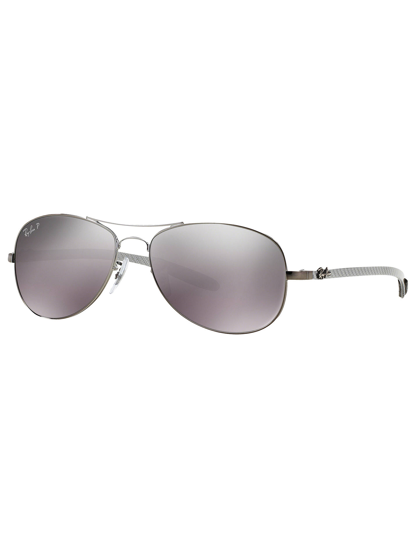 Buy Ray-Ban RB8301 Polarised Aviator Sunglasses, Gunmetal/Mirror Grey Online at johnlewis.com