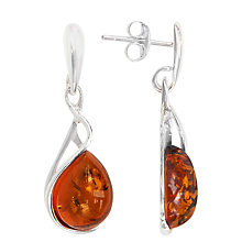 Buy Goldmajor Sterling Silver Amber Drop Earrings, Silver/Orange Online at johnlewis.com