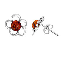 Buy Goldmajor Sterling Silver Amber Flower Stud Earrings, Silver/Orange Online at johnlewis.com