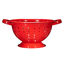 Buy John Lewis Stainless Steel 24cm Footed Colander, Red Online at johnlewis.com
