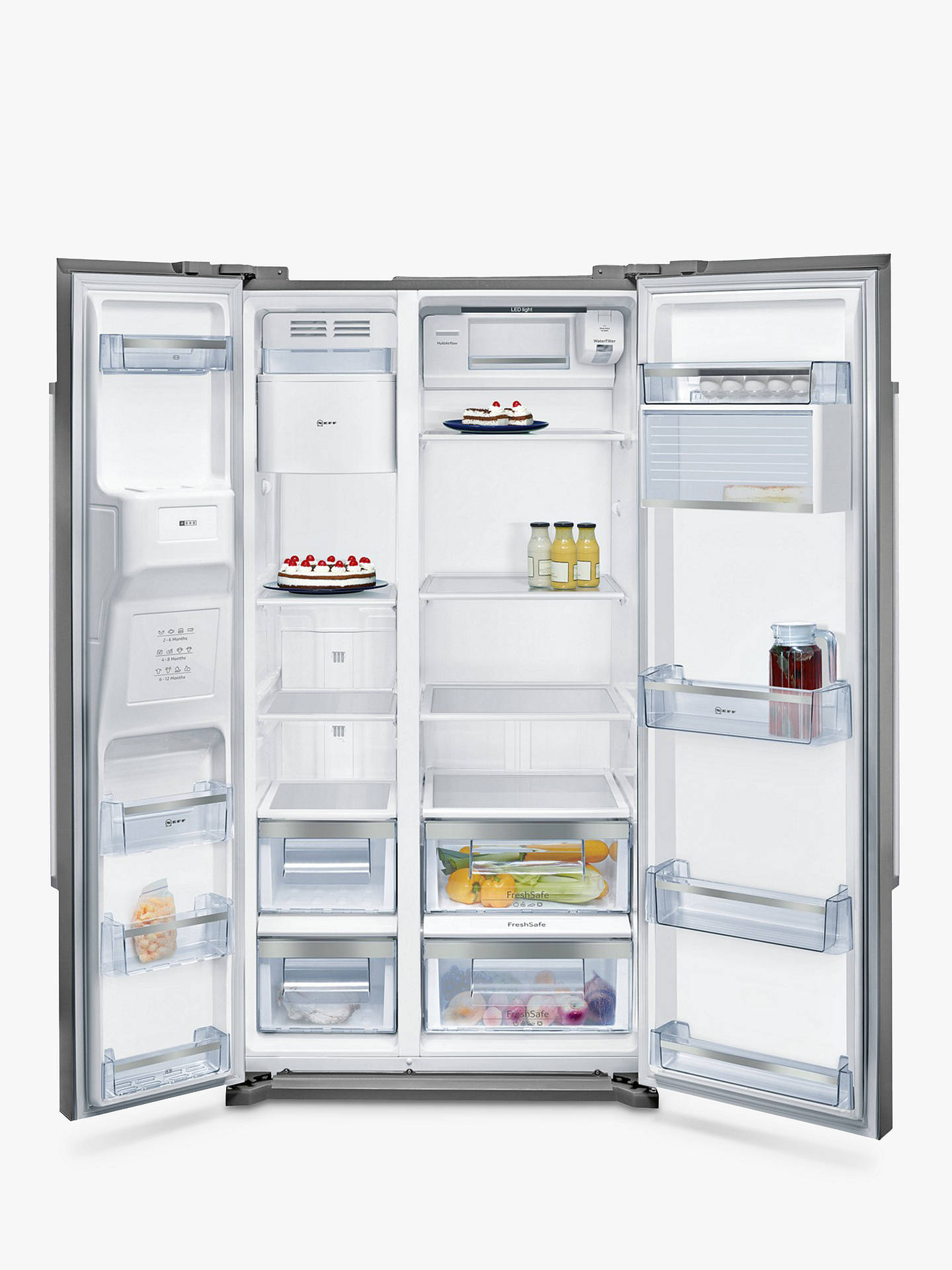 BuyNeff KA3902I20G American Style Fridge Freezer, A+ Energy Rating, 90cm Wide, Stainless Steel Online at johnlewis.com