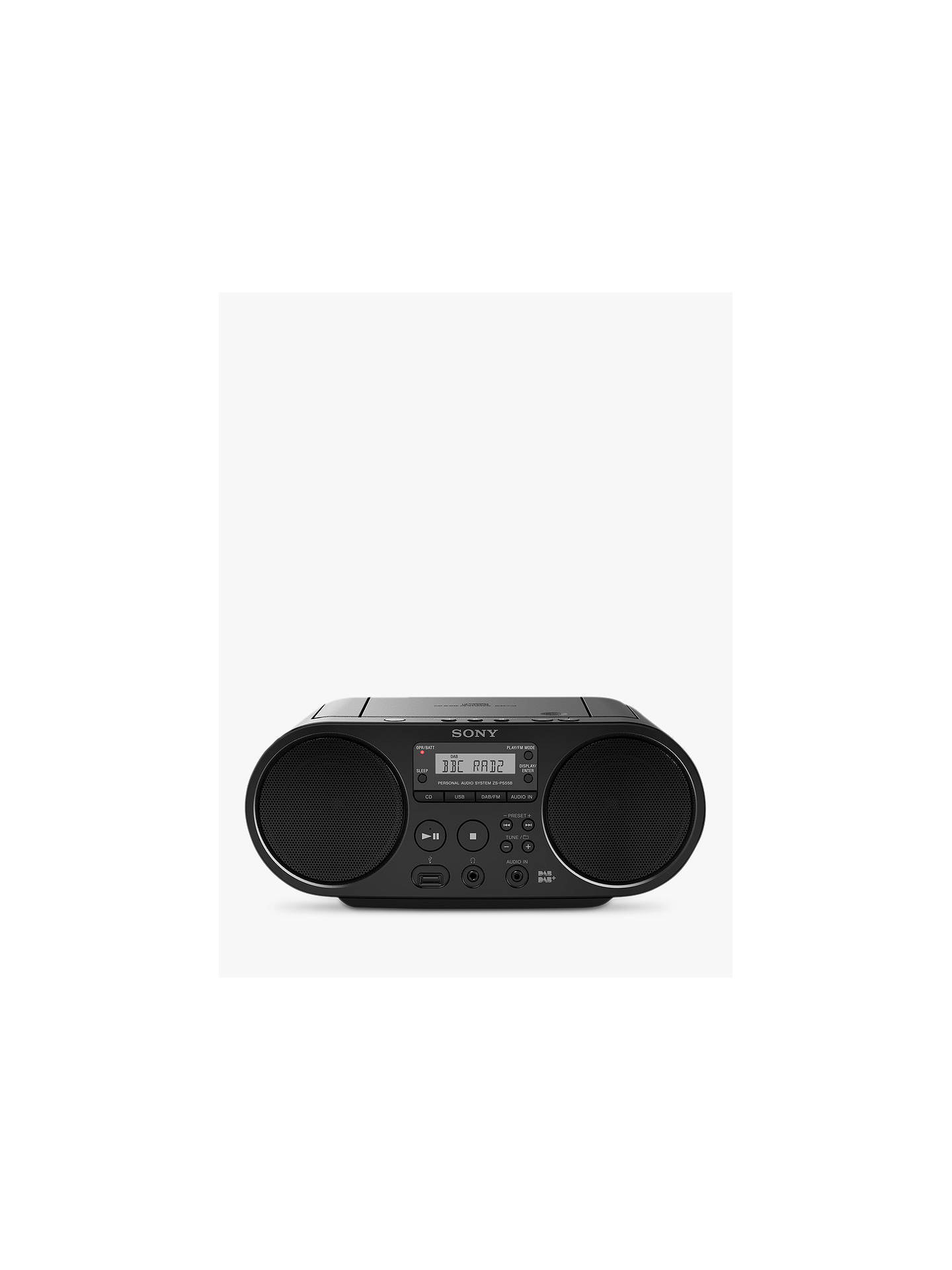 BuySony ZSPS55B DAB/FM CD Boombox With USB Playback, Black Online at johnlewis.com