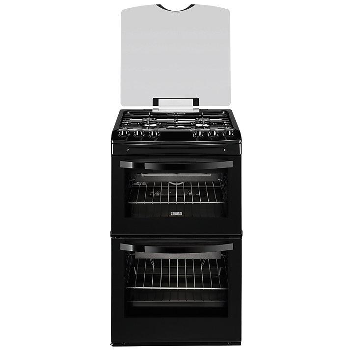 zanussi zcg43000ba 55cm gas freestanding double oven black. Black Bedroom Furniture Sets. Home Design Ideas