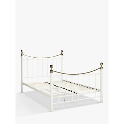 John Lewis & Partners Jayne Brass Metal Bed Frame, Double, White