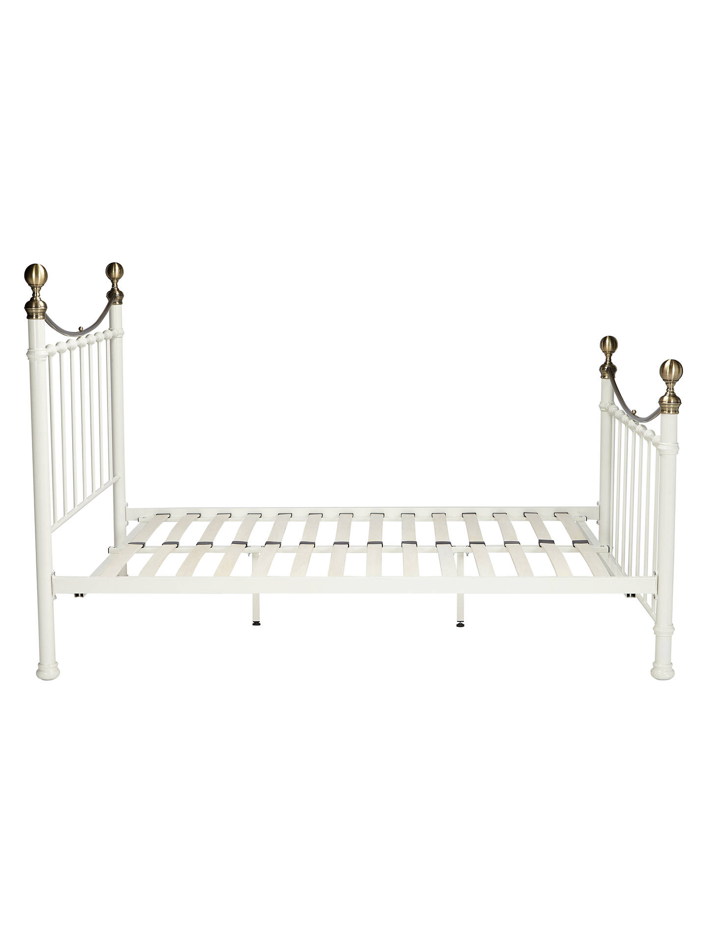 John Lewis Partners Jayne Brass Metal Bed Frame Double White At