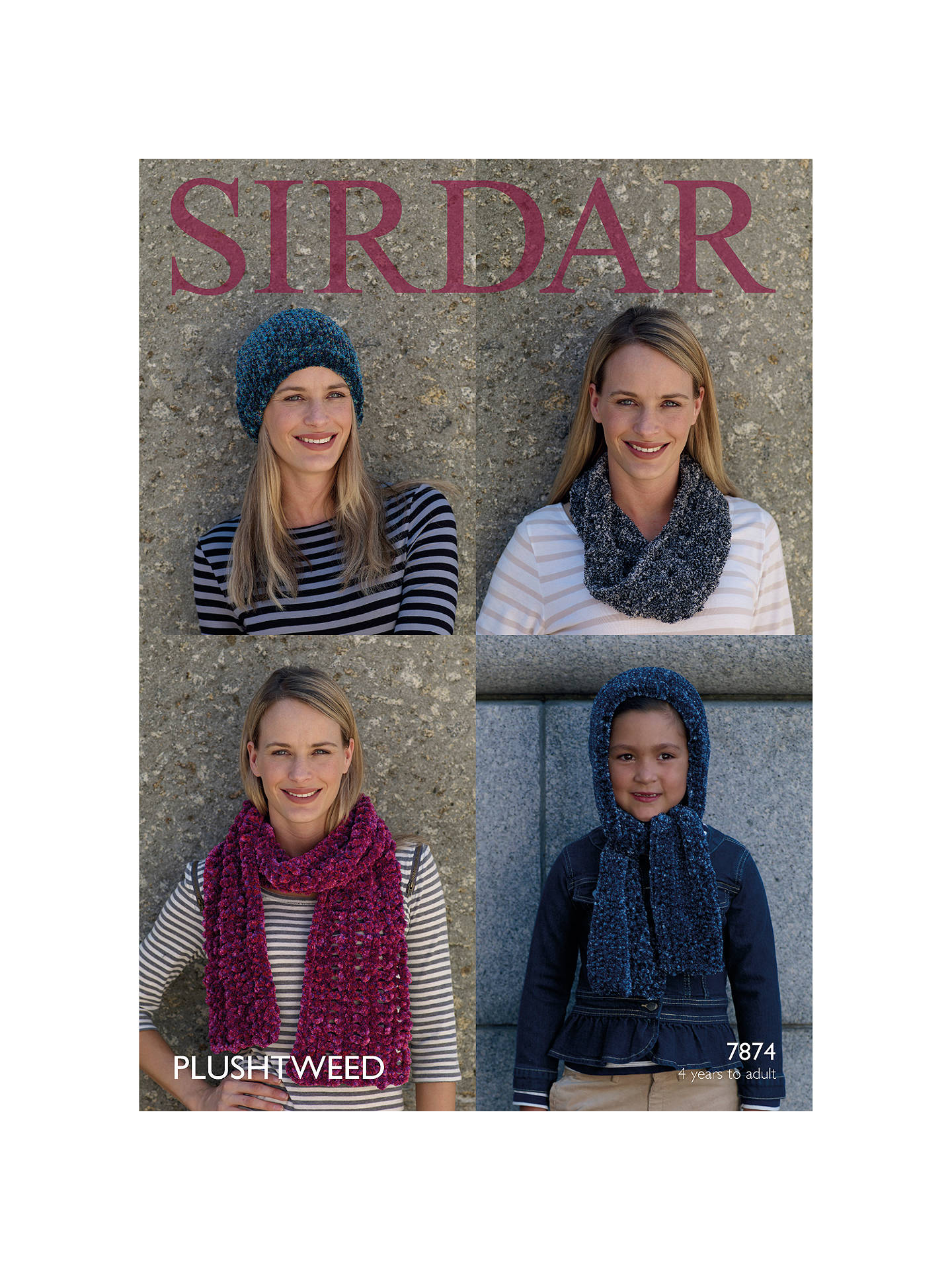 Sirdar Plushtweed Women S And Children S Hat And Scarf Knitting