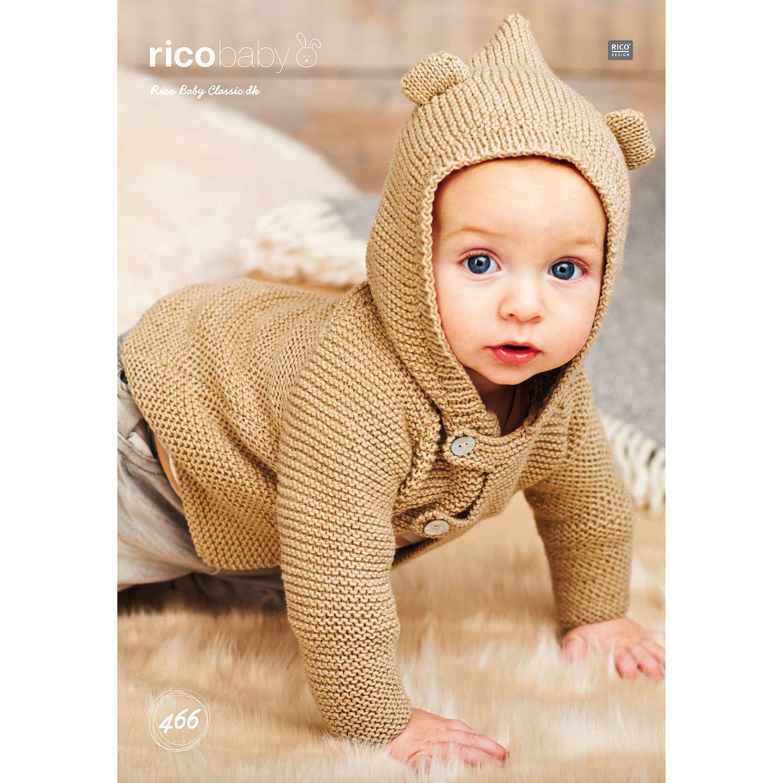 Rico Baby Classic DK Baby Cardigan Knitting Pattern, 466 at John Lewis