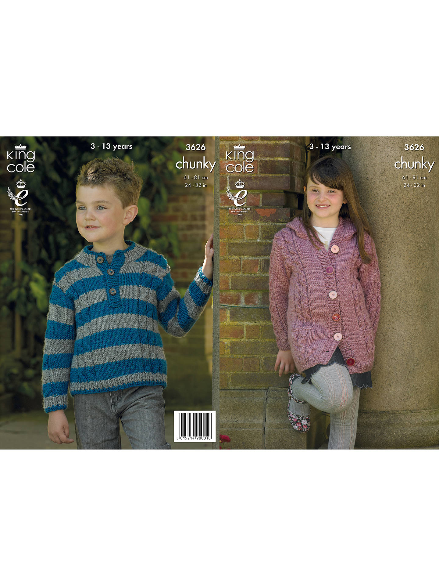 7001989d7 King Cole Children s Chunky Jumper and Cardigan Knitting Pattern ...