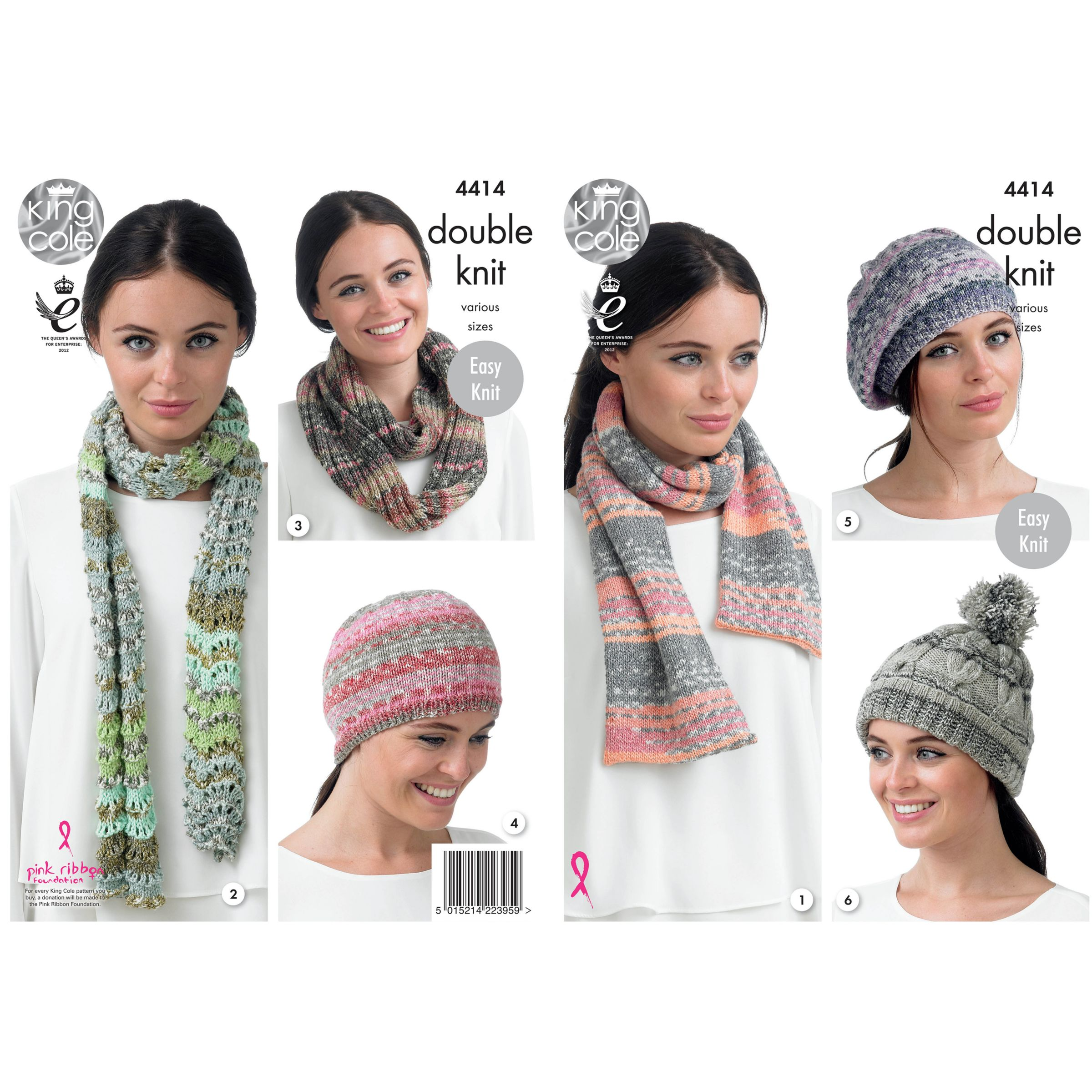 King Cole Drifter DK Hat, Scarf and Snood Knitting Pattern