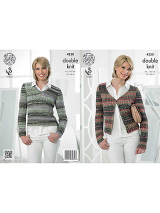 Buy King Cole Drifter DK Women's Jumper and Cardigan Knitting Pattern, 4258 Online at johnlewis.com