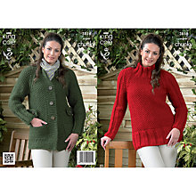 Buy King Cole Big Value Super Chunky Women's Cardigan Knitting Pattern, 3818 Online at johnlewis.com