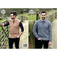 Buy King Cole Fashion Aran Combo Men's Jumper and Slipover Knitting Pattern, 4628 Online at johnlewis.com