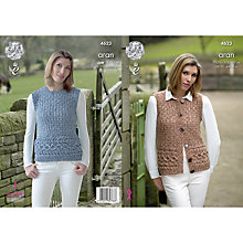 Buy King Cole Fashion Aran Combo Women's Waistcoat Knitting Pattern, 4623 Online at johnlewis.com