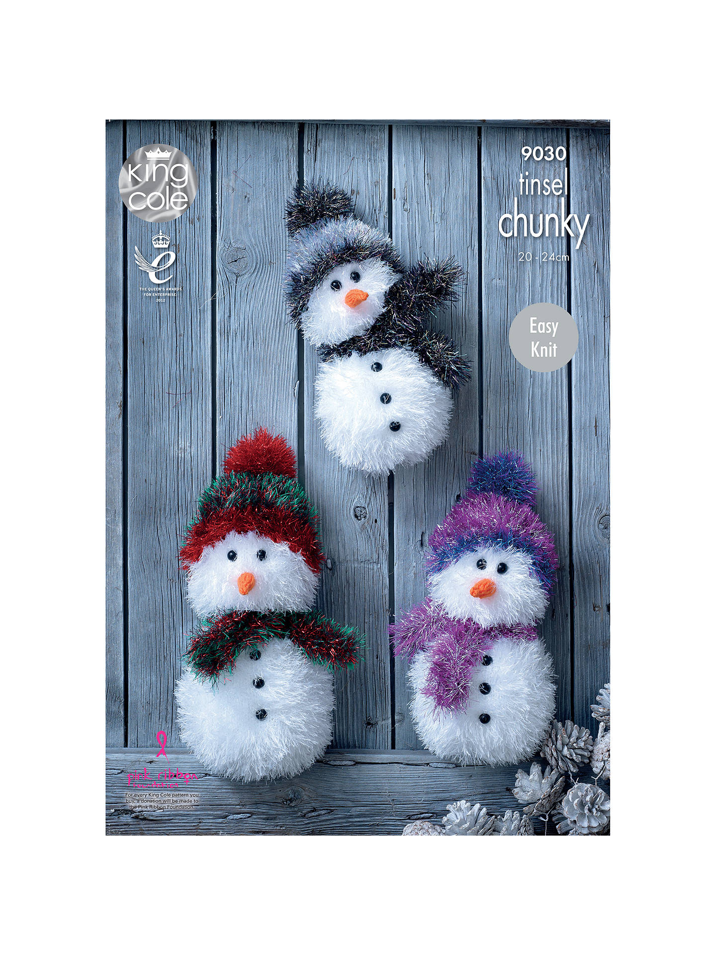 BuyKing Cole Tinsel Chunky & DK Snowman Soft Toy Knitting Pattern, 9030 Online at johnlewis.com