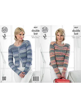 Buy King Cole Drifter DK Women's Jumper and Cardigan Knitting Pattern, 4257 Online at johnlewis.com