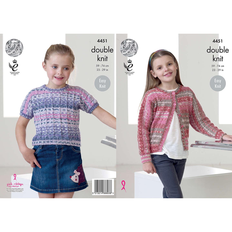 King Cole Drifter DK Children\'s Jumper and Cardigan Knitting Pattern ...