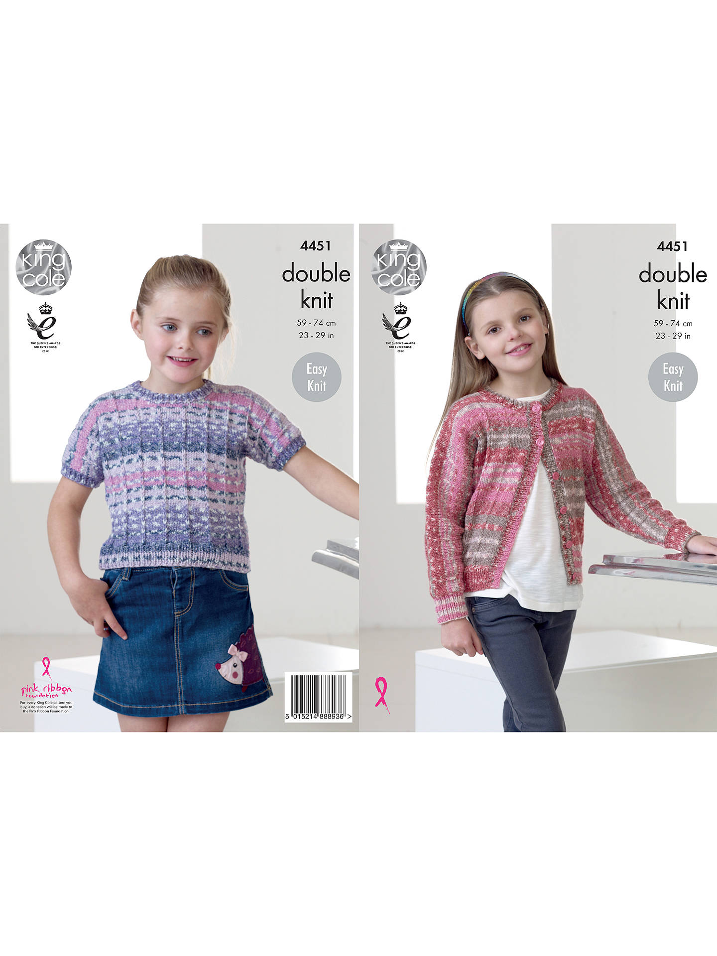 Buy King Cole Drifter DK Children's Jumper and Cardigan Knitting Pattern, 4451 Online at johnlewis.com
