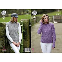 Buy King Cole Fashion Aran Combo Women's Jumper and Slipover Knitting Pattern, 4624 Online at johnlewis.com
