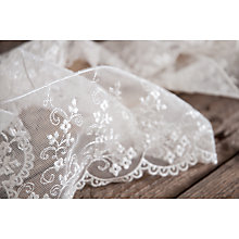 Buy La Stephanoise Embroidered Lace on Tulle Trimming, 55mm, White Online at johnlewis.com