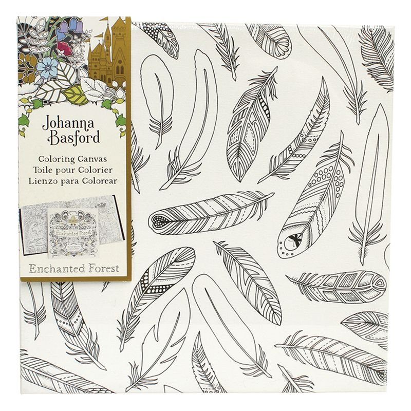 Johanna Basford Enchanted Forest Feathers Colouring Canvas at John ...