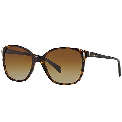 Prada PR01OS Polarised Square Sunglasses, Tortoiseshell