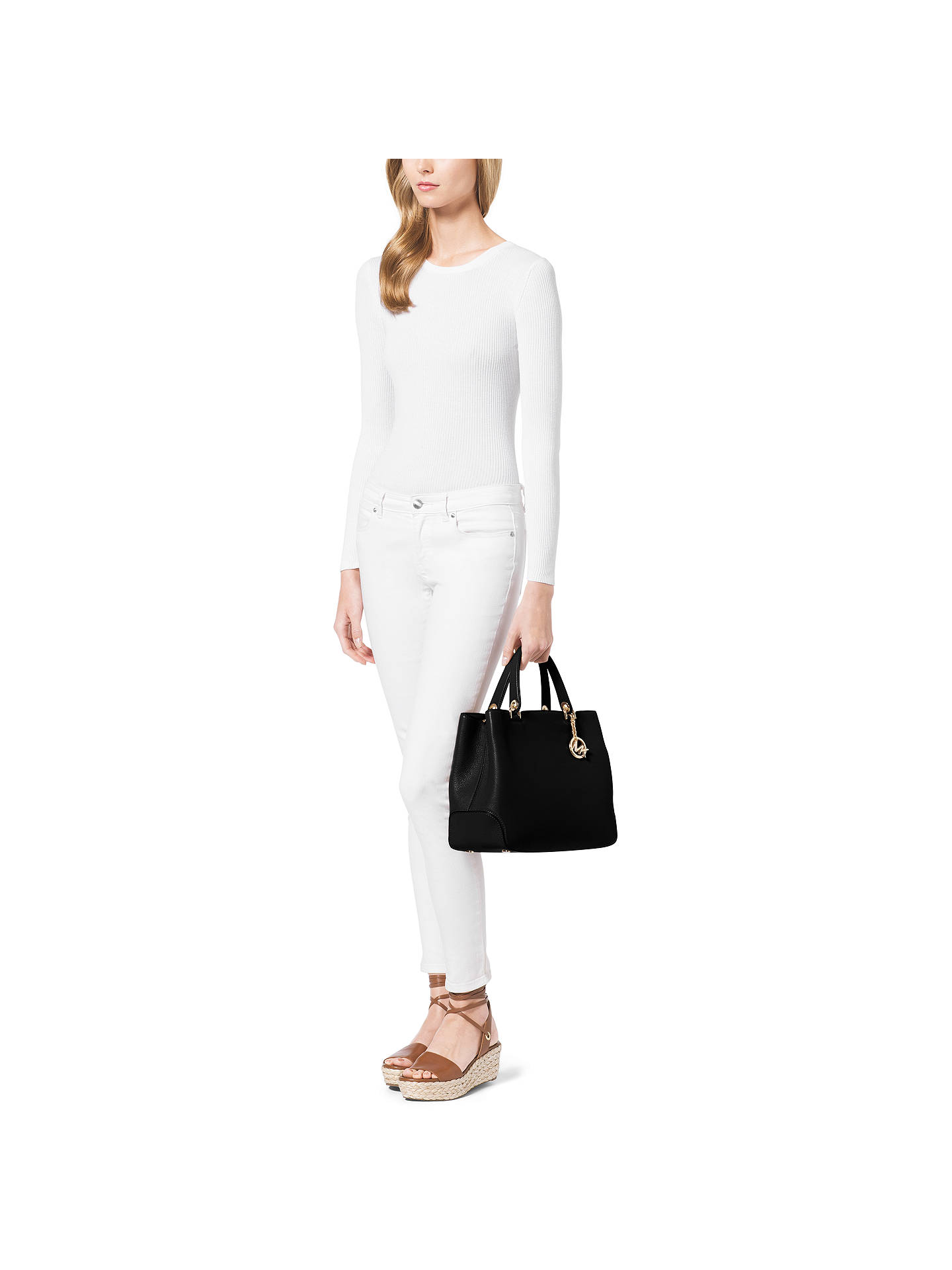 0758a2647594 ... Buy MICHAEL Michael Kors Anabelle Large Top Zip Leather Tote Bag, Black  Online at johnlewis