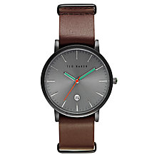 Buy Ted Baker TE10026445 Men's Graham Date Leather Strap Watch, Black/Silver Online at johnlewis.com