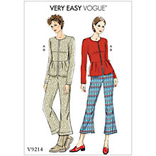 Buy Vogue Misses' Women's Jacket and Trousers Sewing Pattern, 9214 Online at johnlewis.com