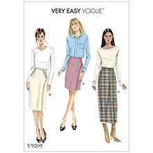 Buy Vogue Misses' Women's Buttoned Wrap Skirt Sewing Pattern, 9209 Online at johnlewis.com