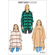 Buy Vogue Misses' Women's Cape Sewing Pattern, 9211 Online at johnlewis.com