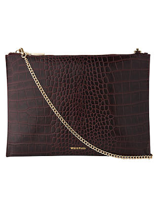 Buy Whistles Shiny Croc Leather Chain Pouch, Burgundy Online at johnlewis.com