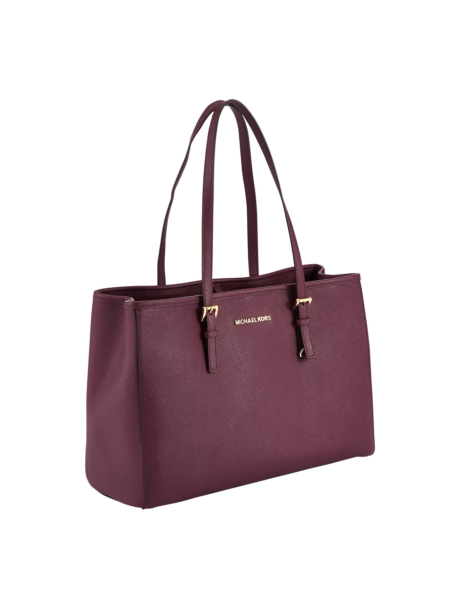 3ddb2e5ea1c8f2 ... Buy MICHAEL Michael Kors Jet Set East/West Large Leather Tote Bag, Plum  Online ...