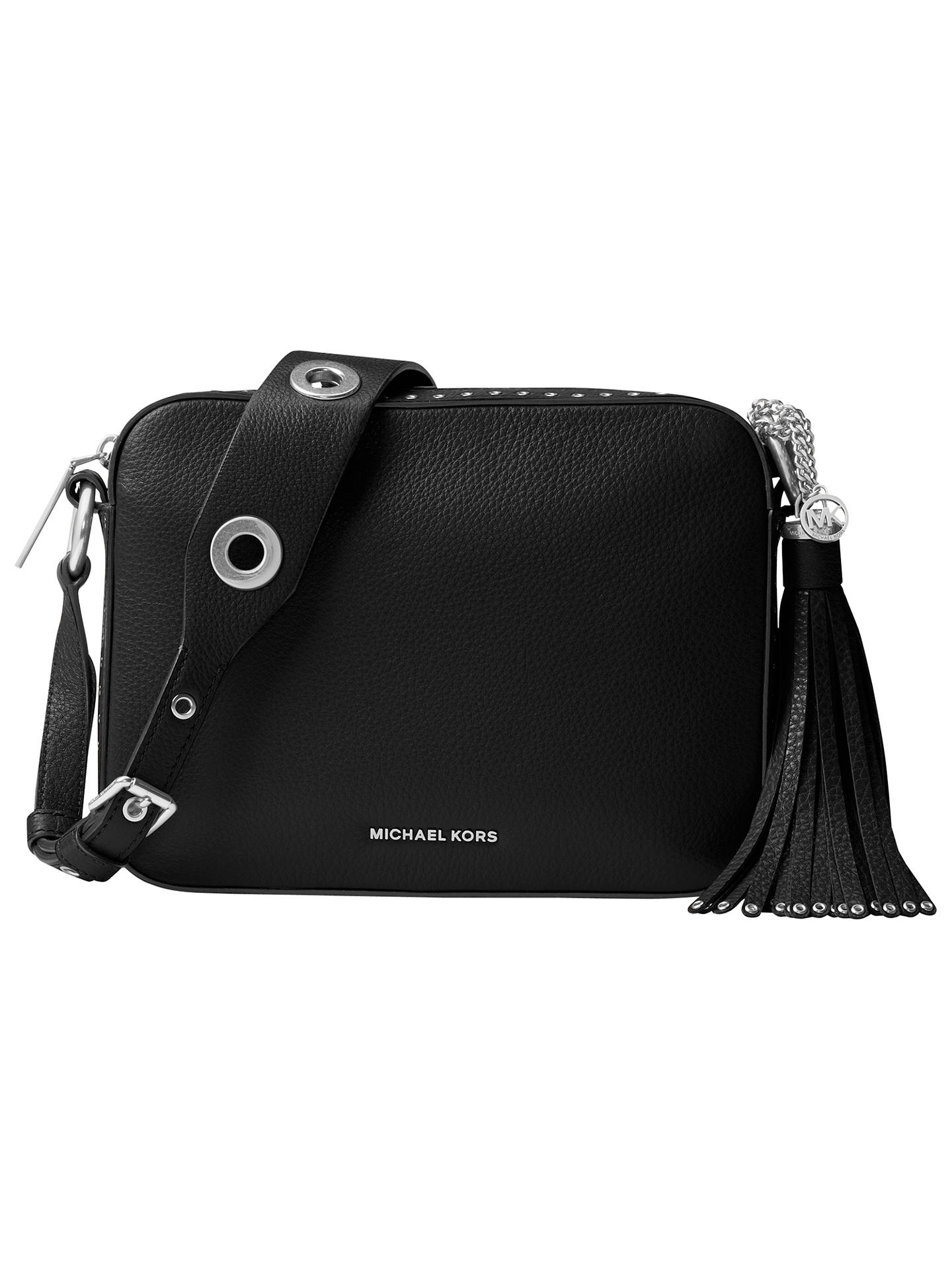 5a7d2e58f04c Buy MICHAEL Michael Kors Brooklyn Large Leather Camera Bag, Black Online at  johnlewis.com ...