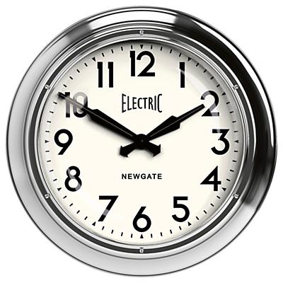 Newgate Giant Electric Wall Clock, Dia.60cm, Chrome