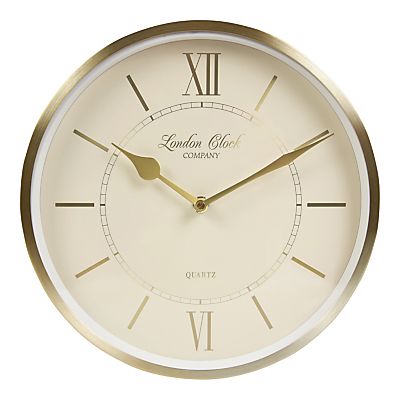 London Clock Company Heritage Wall Clock, Dia.25cm, Champagne Gold
