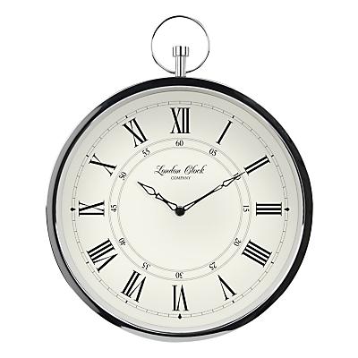 London Clock Company Fob Wall Clock, Dia.35cm, Silver