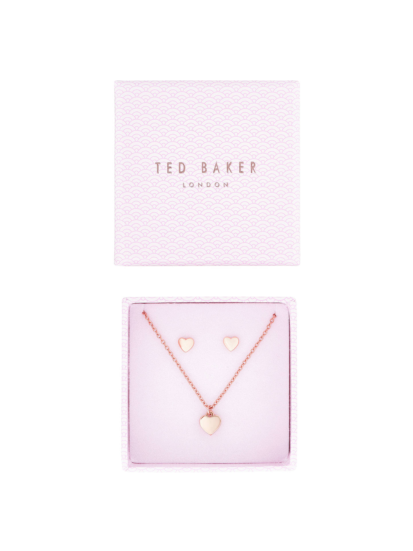 Ted Baker Hara Harly Sweetheart Pendant Necklace And Stud Earrings Box Jewellery Set Rose Gold At John Lewis Partners