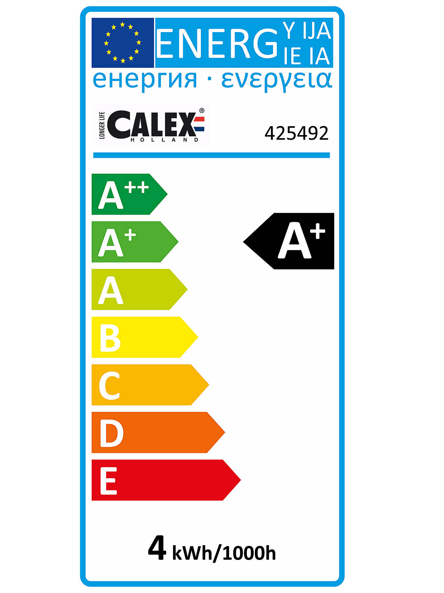 BuyCalex 4W Long Tube LED T45L Bulb, Gold Online at johnlewis.com