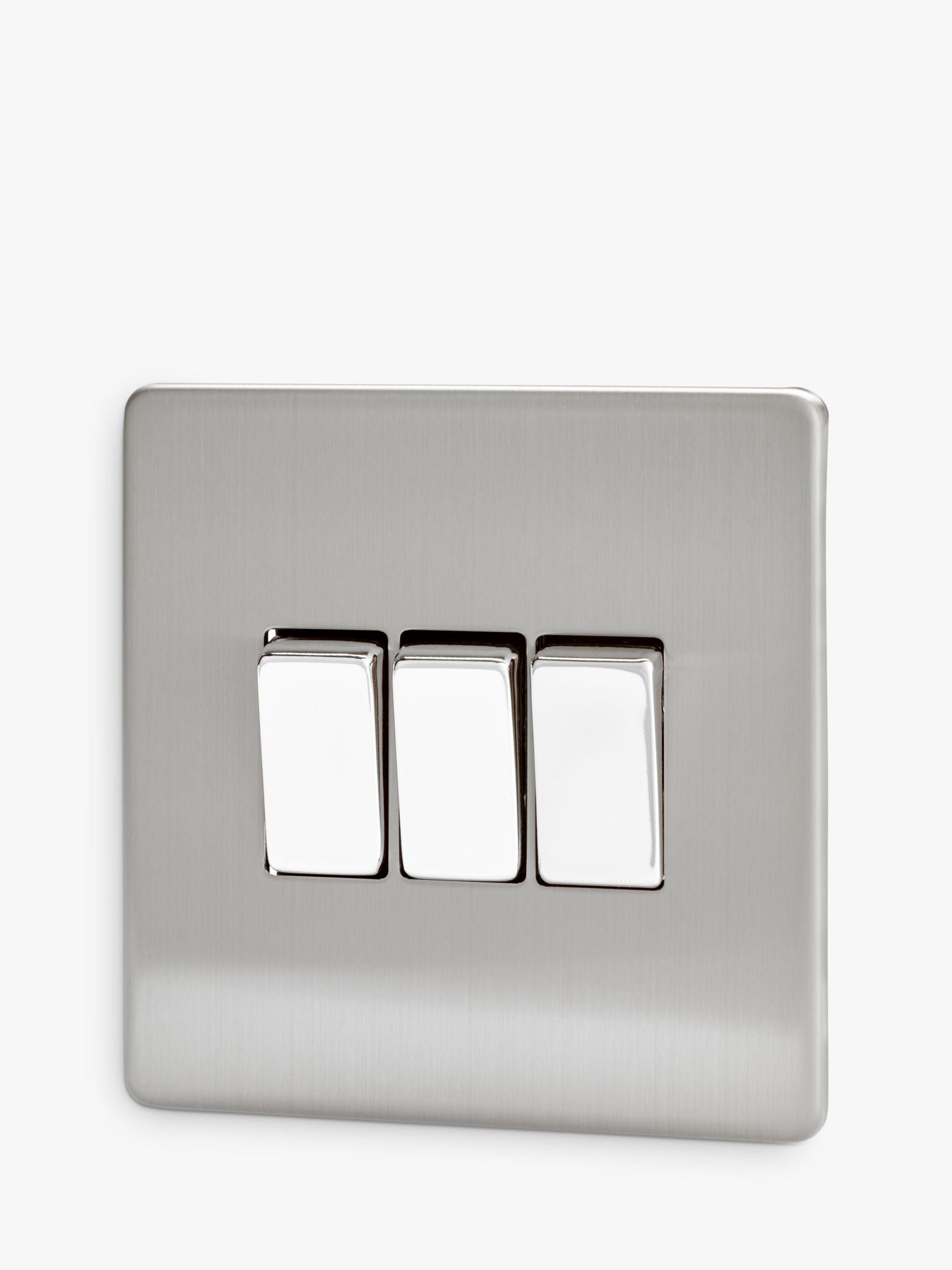 Varilight Varilight 3 Gang 2-Way Rocker Switch, Brushed Steel