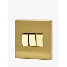 Buy Varilight 3 Gang 2-Way Rocker Switch, Brushed Brass Online at johnlewis.com
