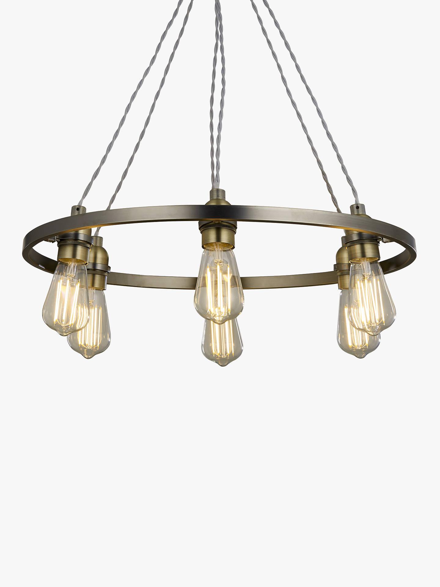 best authentic 6424e 46e89 John Lewis & Partners Bistro Hoop Pendant Ceiling Light, 6 Light, Pewter