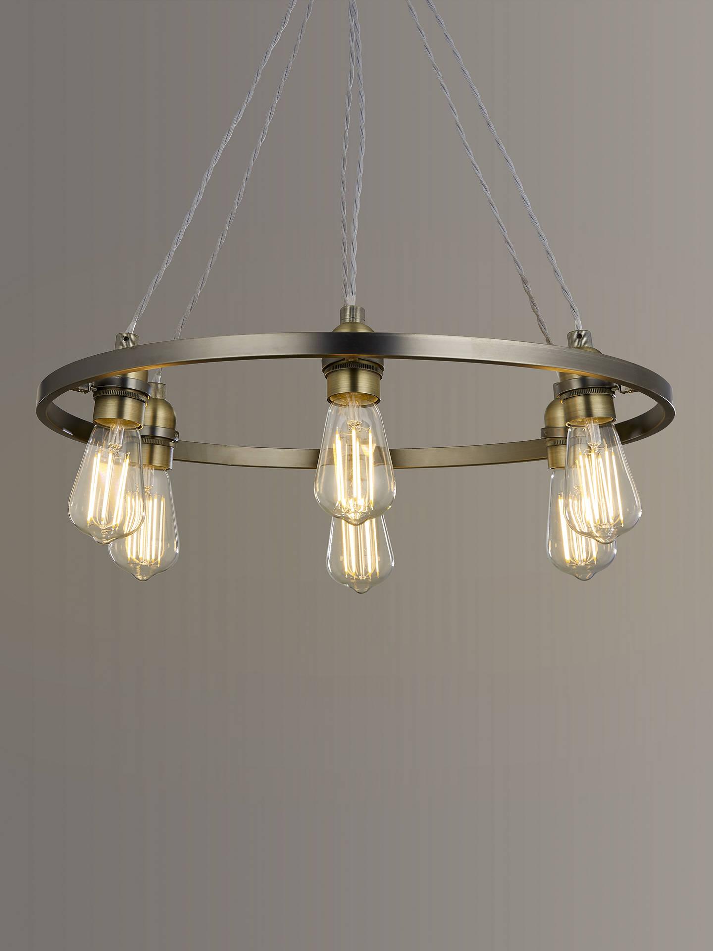 John Lewis & Partners Bistro Hoop Pendant Ceiling Light, 14 Light, Pewter