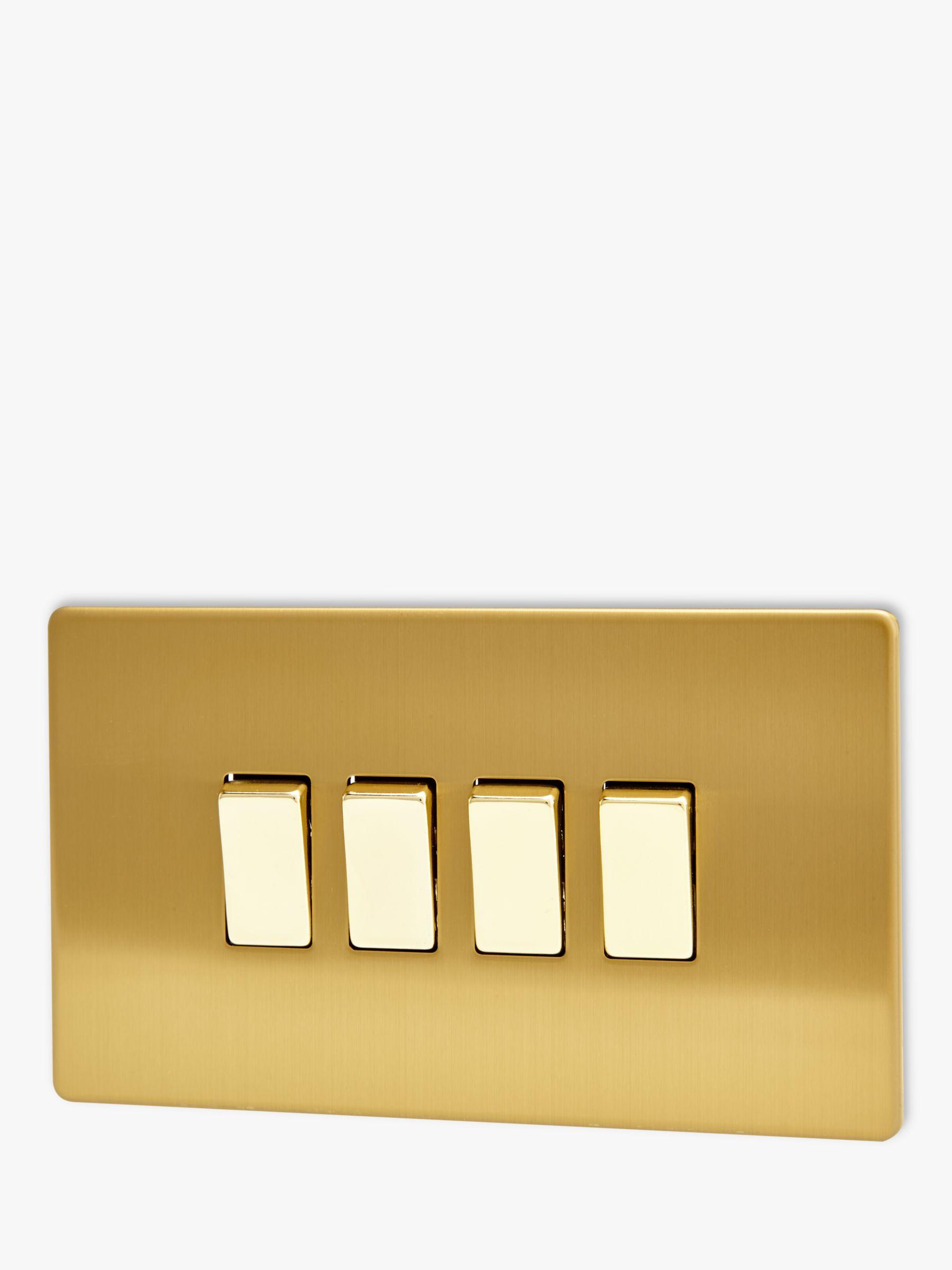 Varilight Varilight 4 Gang 2-Way Rocker Switch, Brushed Brass