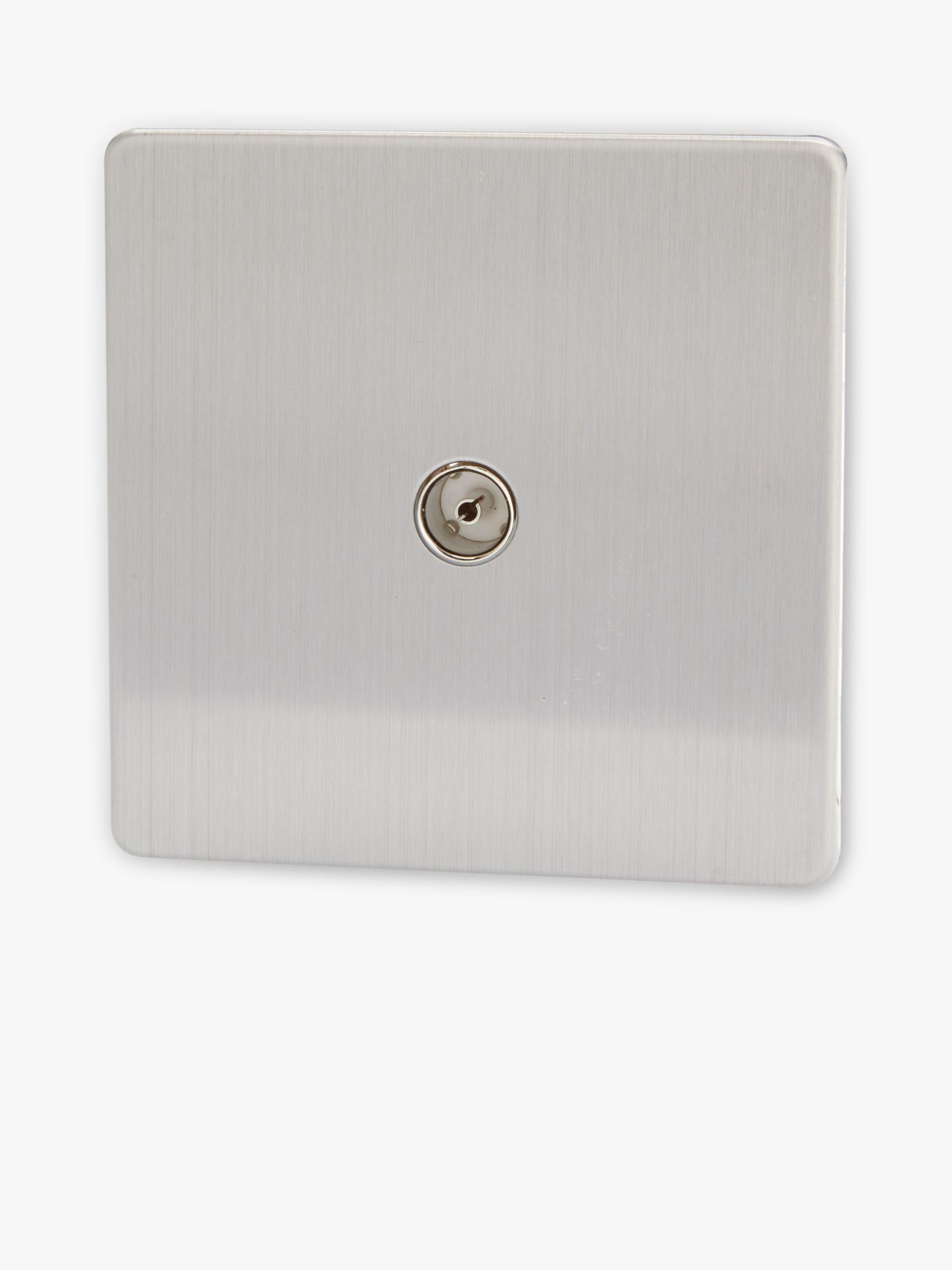 Varilight Varilight 1 Gang Co-axial Socket Switch, Brushed Steel