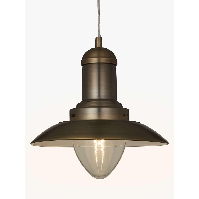 John Lewis Barrington Pendant Ceiling Light, Satin Brass