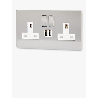 Varilight 2 Gang 13A 3 Pin Double Switch Socket with 2 USB
