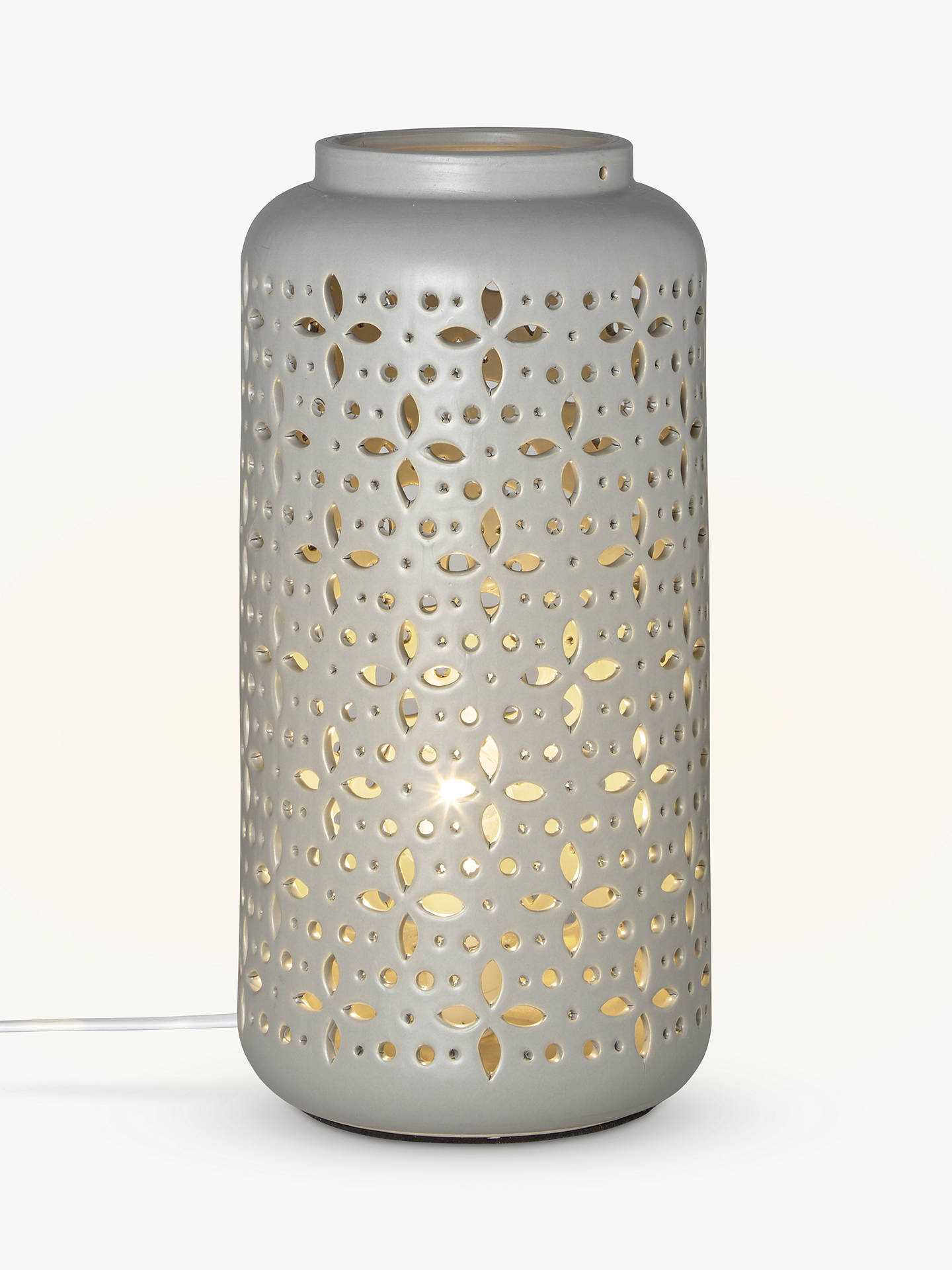 John Lewis Partners Bella Large Ceramic Lantern Table Lamp Grey At John Lewis Partners